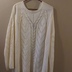 Women's 3X Off White Cable Knit Lace Back Sweater